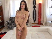 Fake tits of amateur brunette April Blue get a cumshot after pussy to mouth