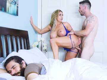 Busty cougar in blue underwear Eva Notty invites Mike for a cup of fuck, while her BF sleeps nearby