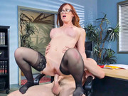 Ginger-head harpy Dani Jensen has office fuck with heavy prick