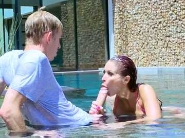 Pool guy gets an outdoor blowjob for his monster cock by Monique Alexander
