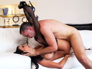 Busty roommaid in stocking Anissa Kate takes big cock in her trimmed twat