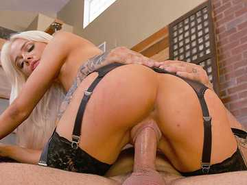 Sweet blonde hottie Elsa Jean pleases her boss on the Father's Day
