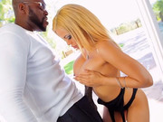 Crummy blonde Luna Star takes the black bazooka in her big mouth