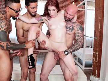 Hot gangband with four guys and a young skinny babe Anna De Ville