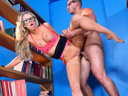 Super sexy librarian girl Courtney Taylor is banged by guy in glasses