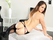 Petite, sexy Sara Luvv poses in black lingerie and heels. The natural-breasted cutie and big, ...