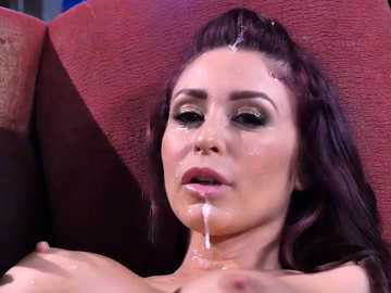 Fake-titted redhead Monique Alexander gets cum on her face from Danny D