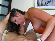 After walking into the room this chick quickly jumps on her mans cock. She teases for a bit and ...