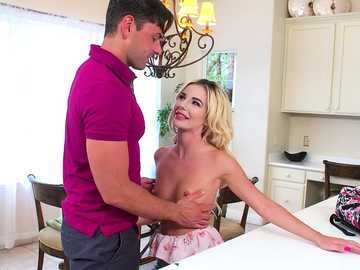 Yummy blonde Bella Rose flirts with the new acquaintance, shows small tits and pleasures him with mouth