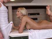 Reckless blonde with long legs and nice tan Chary Kiss gets ass massaged and swallows member