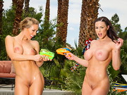 Kendra Lust & Nicole Aniston are having some topless fun by the pool when Chad gets them ...