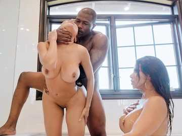 Enchanting MILFs Lela Star and Rose Monroe get blacked in bathroom