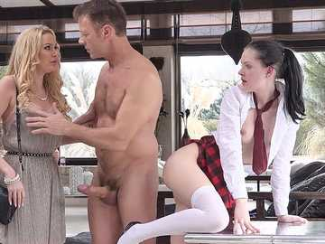 Anie Darling and Amber Jayne: Rocco & MILF Discipline Anie In 3-Way